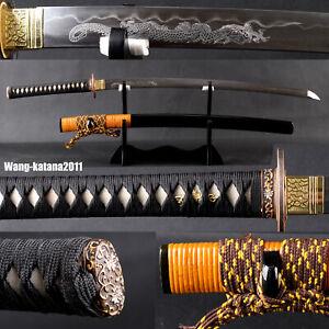 40'' Yellow Rattan Clay Tempered Folded T10 katana Japanese Samurai Sharp Sword