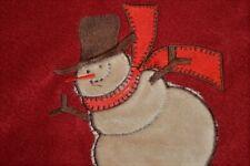 2006 WINTER SNOWMAN APPLIQUE CHRISTMAS FLEECE FABRIC 3 YD 32 IN + 2 YD RED LOT