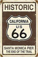 Historic Route 66 Santa Monica Pier rusted steel sign  460mm x 300mm  (pst)