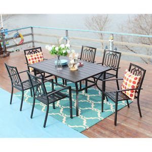 MF Studio Outdoor Patio Dining Set 7 Piece with Rectangular Table and 6 Bistro C
