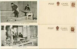 GB JAPAN 1912 EXHIBITION...EARLS COURT 2 Cards FAN PAINTER FRAMES CARPENTER