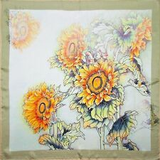 "100% Silk Scarf Sunflower 20"" X 20"" Thick Square Bandanna Neckerchief"