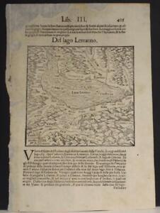 GENEVA LAKE SWITZERLAND 1554 MÜNSTER SCARCE ANTIQUE WOODCUT MAP ITALIAN EDITION