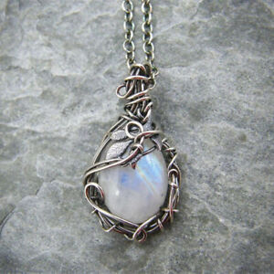Unique Women 925 Silver Moonstone Leaf Necklace Pendant Chain Jewelry Gifts