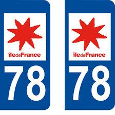 Département 78 sticker 2 autocollants style immatriculation AUTO PLAQUE