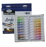 20 pc Acrylic Paint Tubes Set 18 Colors 2 Brushes Royal Langnickel