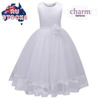 Flower Girl Communion Prom Princess Pageant Party Wedding white tulle dress