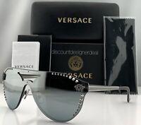 Versace GLAM MEDUSA VE2161B Sunglasses Gray Frame Silver Mirror Lens 1001/1U