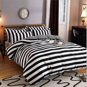 New Black White Stripe Bedding Set Duvet Quilt Cover+Sheet+Pillow Case 4-Piece