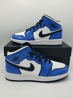 Air Jordan 1 Mid White Signal Blue Patent Leather Size 6Y/ Women's 7.5