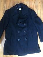 Vintage Mens U.S Navy Issued Wool Peacoat- Black 42S- jake Holman
