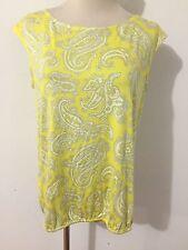 Banana Republic Sleeveless Top Blouse Yellow & Taupe Paisley Size S