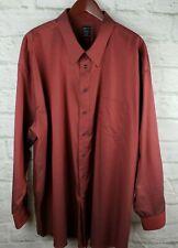 Joseph & Feiss Long Sleeve Button Down Shirt No Iron Red Mens Tall 20 Neck 36/37