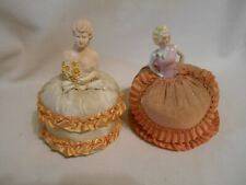 2 vintage porcelain and chalkware pin cushions ion dolls sewing pin cushion