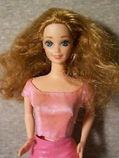 Vintage Superstar Style Barbie w/Auburn Red Hair, Bent Arms, Pink Leather