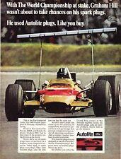 1968 Graham Hill Formula 1 Grand Prix Racer photo Autolite vintage print ad
