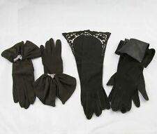 3 Pair Vintage Ladies Fancy Black Kid Suede Evening Gloves Size 7