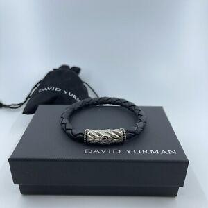 """David Yurman Chevron Woven Black Leather Bracelet w/Pave Black Diamonds 8"""""""