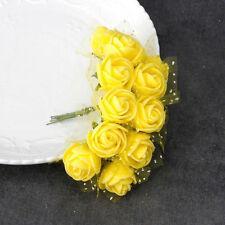 12pcs PE Foam Artificial Lace Rose Flowers Wedding Bride Bouquet Wreath Decor
