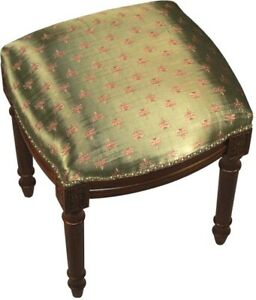 VANITY STOOL DRAGONFLY WOOD STAIN OLIVE GREEN UPHOLSTERY POLY RAYON COTTO