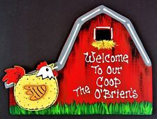 Personalize CHICKEN BARN Welcome To Our Coop SIGN Name WALL Farm PLAQUE Rooster