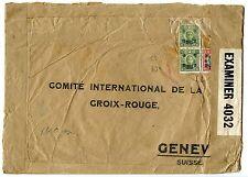CHINA 1944 Red Cross cover Shanghai to Geneva $50,2x$1 Japanese censor chop
