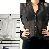 Women's sheer see through button down mesh long sleeve shirt lace blouse top NEW