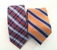 Lot of Two (2) Tommy Hilfiger 100% Silk Tie Vibrant Colorful Neckties EUC
