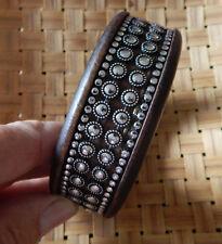 Fashion Bracelet Wood Dark Brown Silvertone Riveted design Wide Bangle