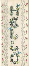 VINTAGE ELEGANT BLACK LETTERING LETTERS HELLO H E L L O ROSES GREETING ART CARD