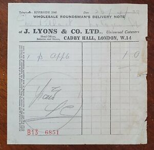 1939 J. Lyons & Co., Ltd, Cadby Street, Wholesale Rounds Delivery Note Invoice