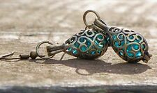 Reclaimed Bottle Dump Glass Brass Filigree Earrings 7 Color Choices
