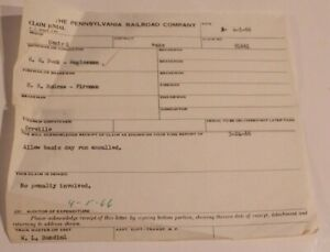 Vintage Pennsylvania Railroad Company Claim Denial Form April 1 1966