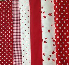 Lot de 6 coupons de tissu 40 x 40 cm coton rouge