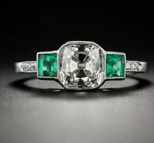 Stunning Quality Fashion Emerald Green & White Crystal Topaz Silver Sz 10 Ring