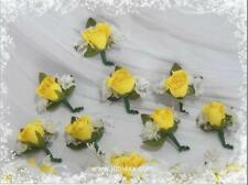 8 SILK YELLOW ROSEBUD Boutonnieres for your occasions