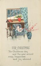 Christmas~Packages Stacked~Arm Chair~Window Panes~Snow Outside~Gibson Art Lines
