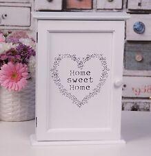 White Shabby chic Wooden Key Holder Box 6 Hooks HOME SWEET HOME NEW Cabinet