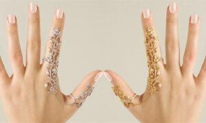 Women's Double Finger Multiple Stack Thumb Ring Crystal Set Gift Jewellery UK!!