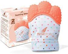 Teething Mittens for Baby Set of 2- Infant Teething, Baby Glove Teether (Orange)