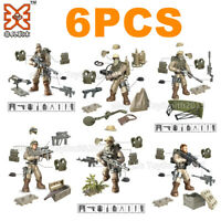 6 Mini Military Special Police Soliders Building Bricks Figures Ammunition Chest