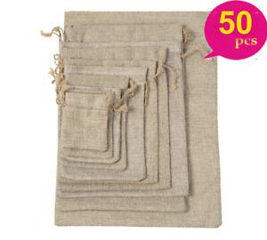 50x Burlap Linen Jute Pouch Bag Retro Wedding Drawstring Gift Favor Candy Sack