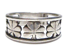 MADE IN IRELAND IRISH STERLING SILVER SHAMROCK CLOVER CLADDAGH LOVE RING BAND