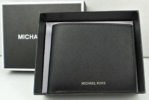 Michael Kors ANDY Slim Bifold Wallet Black Leather $98 NEW w/GIFT BOX