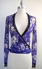 JEAN PAUL GAULTIER SOLEIL purple floral nylon mesh wrap front top XS WORN ONCE