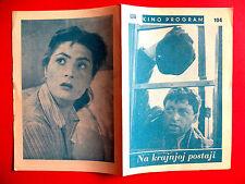 AT THE TERMINUS 1957 CZECH VLADIMIR RAZ EVA OCENASOVA BROZOVA EXYU MOVIE PROGRAM