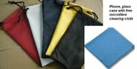 Eye Glasses Pouch Cleaning Cloth Wipe Drawstring Bag Protector Case Cover Colour