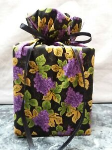 Purple Grapes, green /gold Leaves Cotton Fabric Handmade square Tissue Box Cover