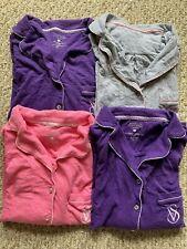 Victoria's Secret Cotton Lingerie Pajama Shirts Sz Small Pink Purple Gray 4 EUC