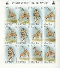 1997 Uganda WWF Giraffe miniature sheets of 12 MNH